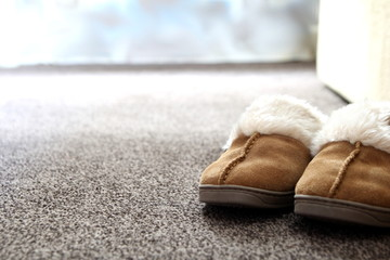 Generic ladies suede slippers on carpet next to sofa in a nice l