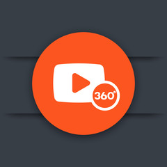 360 degrees video icon, sign, vector illustration
