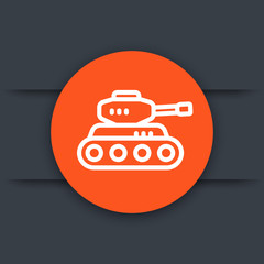 battle tank linear icon, armoured fighting vehicle