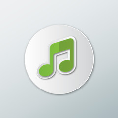 Icon of musical notes in a flat style green with shadows on a round button.