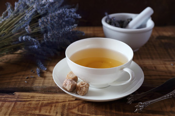 Aromatic lavender tea and bunch of dry  lavender
