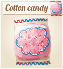 Cotton candy (Fairy floss) in a bag. Cartoon vector icon. Series of food and ingredients for cooking.