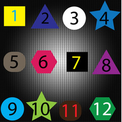 Bright numbers set drawn with real ink brush, vector childish numerals collection.
