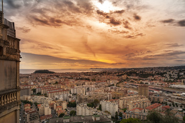 Sunset in the city of Nice, France.