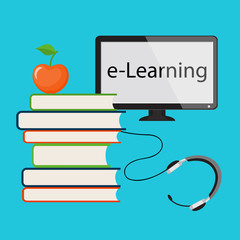 E-Learning with computer monitor