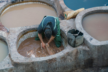 Tanneries of Fes - Morocco.