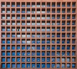 Geometric windows on an office building.