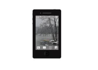 Черный мобильный телефон с картинкой на экране, без фона