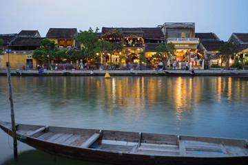 Quang Nam, Vietnam - Apr 1, 2016: Hoi An ancient town viewing from Thu Bon river by twilight period. Hoi An is UNESCO world heritage, one of the most popular destinations in Vietnam