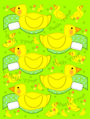 Bathtime duck and towel on Lime Green