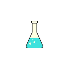 Chemical solid icon,  laboratory glass sign, vector graphics, a colorful linear pattern on a white background, eps 10.