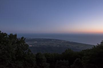 Coastline overview at sunset