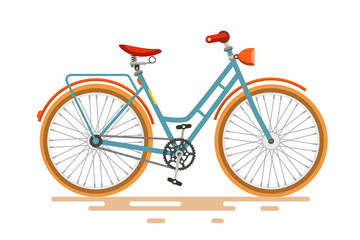 Vintage Vector Bike. Retro Bicycle Isolated on White Background.
