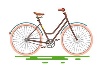 Retro Bicycle. Bike Isolated on White Background.