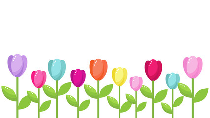 vector card template with bright tulip flowers