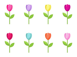 vector collection of colorful stylized tulip flowers
