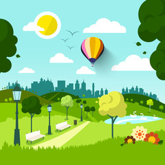 City Park. Vector Nature Landscape. Green Natural Scene with Flowers. Sunny Day in Town.