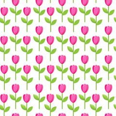 seamless vector pattern of pink stylized tulip flowers
