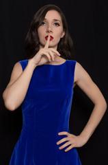 Portrait of beautiful Retro Woman in blue dress in Style 1920 - 1930