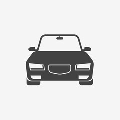 Car monochrome icon. Front view. Automobile vector illustration.