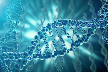Concept of biochemistry with dna structure on blue background. 3d rendering Medicine concept.