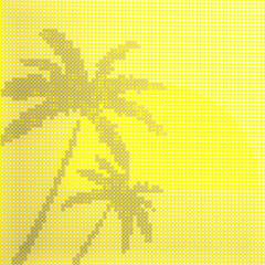 A few palm trees in the background of the sun made from glowing transparent bubbles. Advertising tourist business. It can be used for background. 3d render image