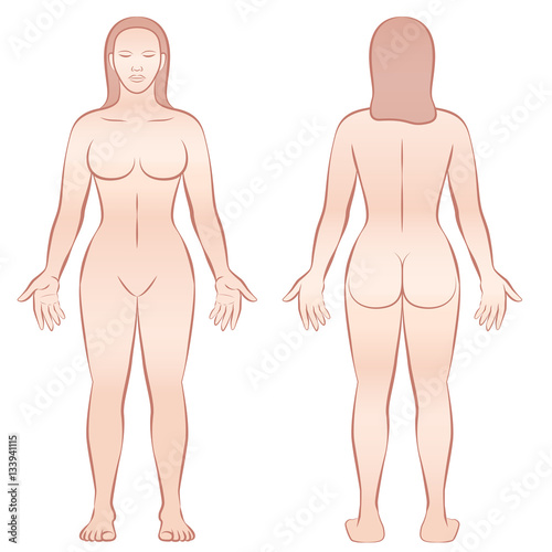 Female body - front view and back view.\