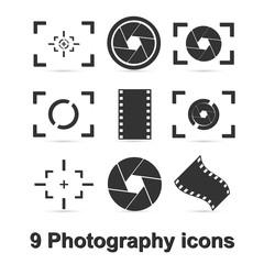 Camera icon. Photo icon. Button.