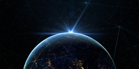 Global International Connectivity Background/Connection lines Around Earth Globe, Futuristic Technology  Theme Background with Light Effect, Elements of this image furnished by NASA.