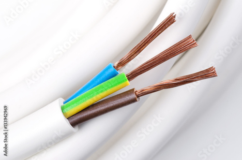 Electrical power cable macro photo. IEC standard color code. Cross ...