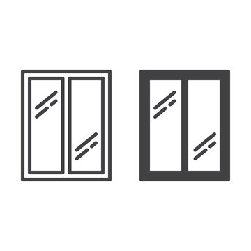 Glass window line icon, outline and filled vector sign, linear and full pictogram isolated on white. Symbol, logo illustration