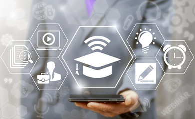 Online education business e-learning web computer concept. Learning workshop and presentation learn to think internet training knowledge technology. Graduation cap wifi icon