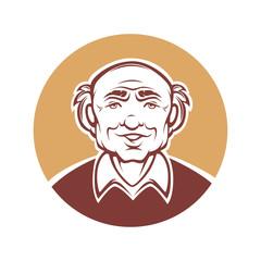 vector portrait of old man..