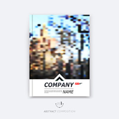 Abstract composition, urban city view, classic industrial architecture texture, mosaic square part construction, a4 brochure title sheet, creative figure icon, logo surface, banner form, flyer font