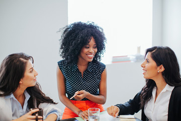 Young businesswomen collaborating in a modern office.