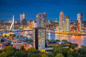 Canvas Prints Rotterdam Rotterdam. Cityscape image of Rotterdam, Netherlands during twilight blue hour.