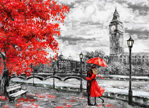 oil painting on canvas, street of london. Artwork. Big ben. man and woman under an red umbrella. Tree. England. Bridge and river