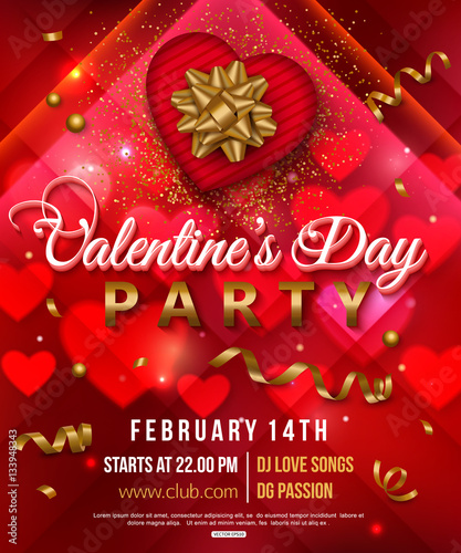 """Valentines Day Party Flyer With Red Heart, Gift Box And"