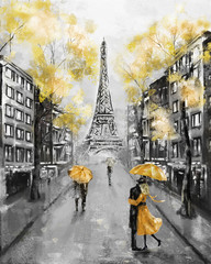 Oil Painting, Paris. european city landscape. France, Wallpaper, eiffel tower. Black, white and yellow, Modern art. Couple under an umbrella on street