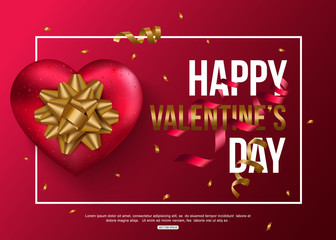 Happy Valentines Day card with red heart, gold bow and confetti. Vector illustration.