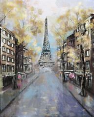 Oil Painting, Paris. european city landscape. France, Wallpaper, eiffel tower. Modern art.  street