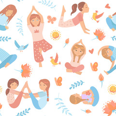 Seamless pattern with cute kids doing yoga exercises with floral elements, birds, lotus. Yoga kids set. Gymnastics for children and healthy lifestyle. Vector illustration.