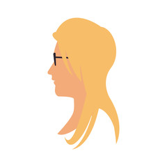 woman face cartoon icon over white background. colorful design. vector illustration