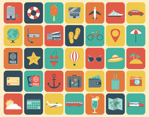Travel Icons Set. Flat design style. Vector