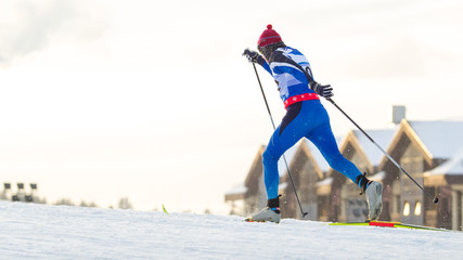 skier runs the classics race.