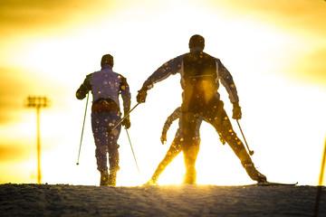 Training skating ski. Silhouettes of skiers. Athletes train in skating speed.