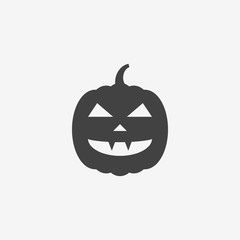 Halloween pumpkin monochrome icon