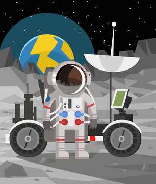 astronaut standing on landrover car on moon surface