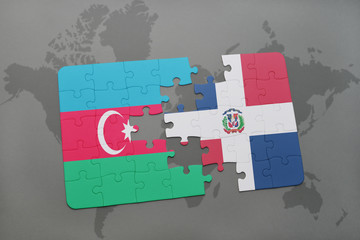 puzzle with the national flag of azerbaijan and dominican republic on a world map
