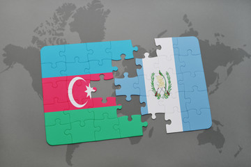 puzzle with the national flag of azerbaijan and guatemala on a world map